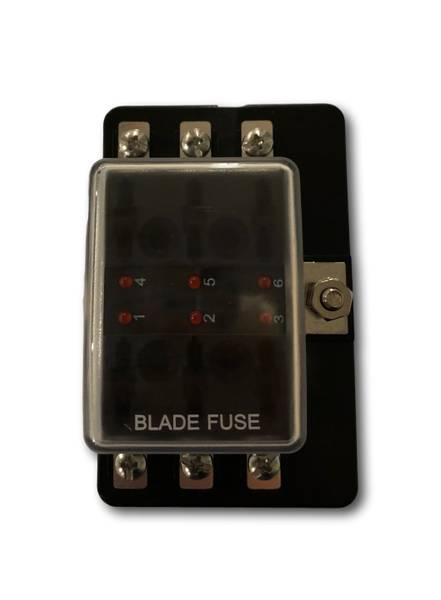 Bilde av Sikringsholder 1-inn og 6-ut, maks 32V 150A - LED